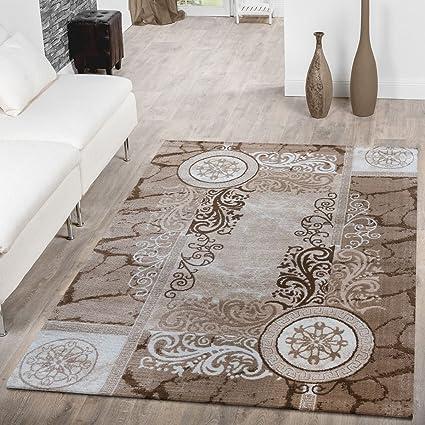 T&T Design Tappeto Moderno Economico Ornamenti A Cerchio Motivo Mélange  Tappeto Per Soggiorno Beige, Größe:160x220 cm