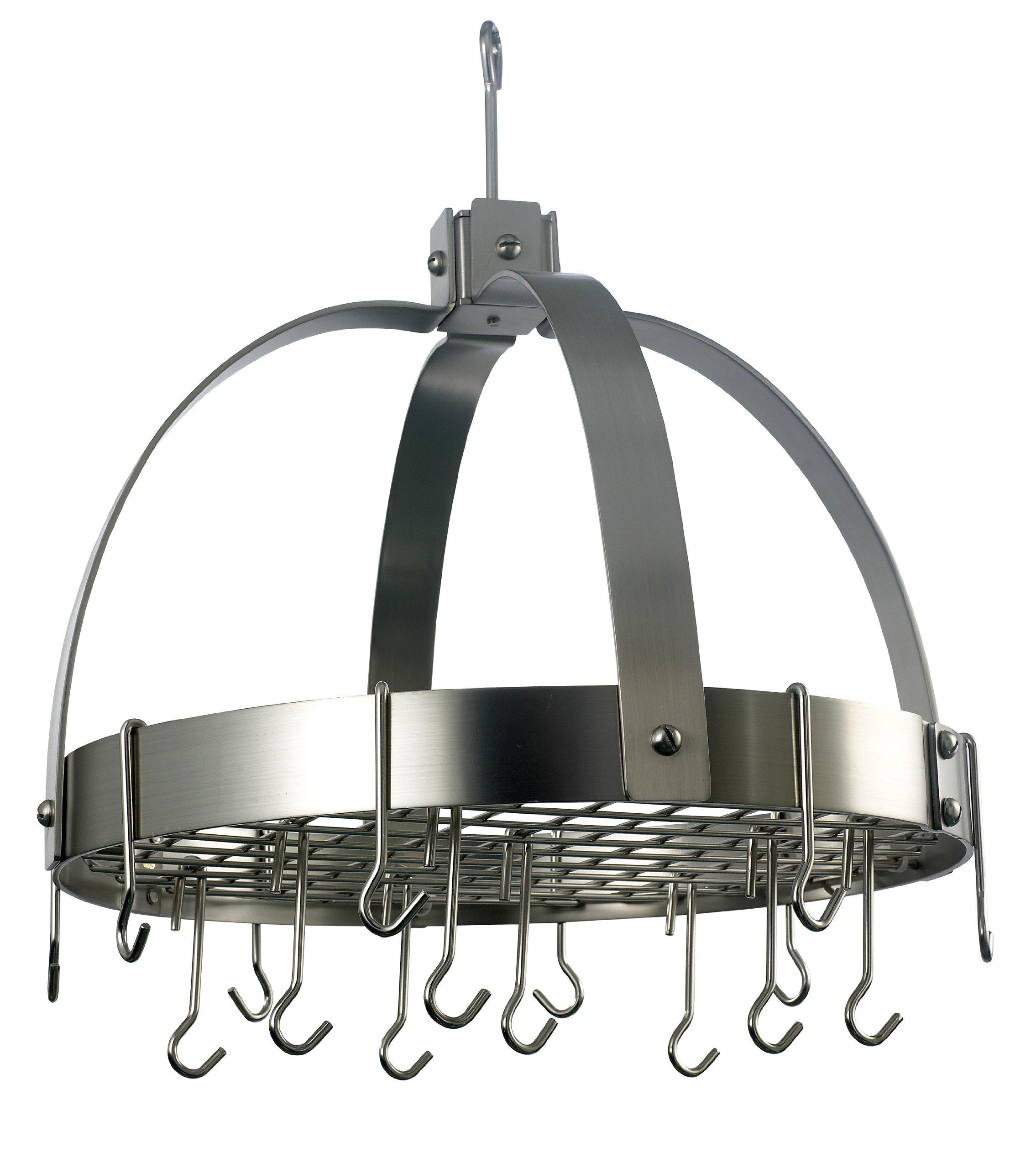 Old Dutch Dome Pot Rack with 16 Hooks, Satin Nickel, 20'' x 15.25'' x 21''