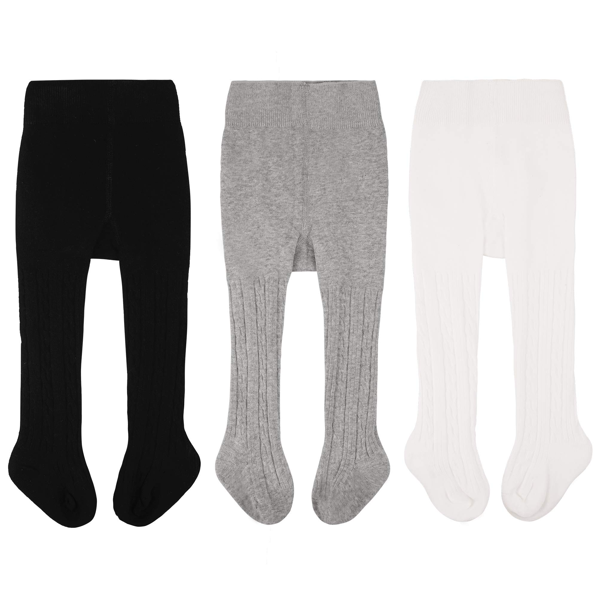 97c923b88 CozyWay Baby Girls Tights Cable Knit Leggings Stockings Cotton 3/5 Pack  Pantyhose Infants Toddlers
