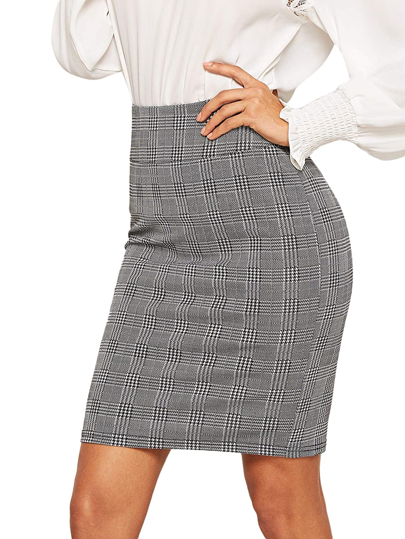 Grey SheIn Women's Plaid High Waist Knee Length Bodycon Pencil Skirt