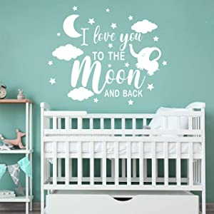 I Love You to The Moon and Back with Elephant Baby Wall Decals Nursery Wall Decals Moon Stars and Clouds Wall Art Decals DDK18 (White)
