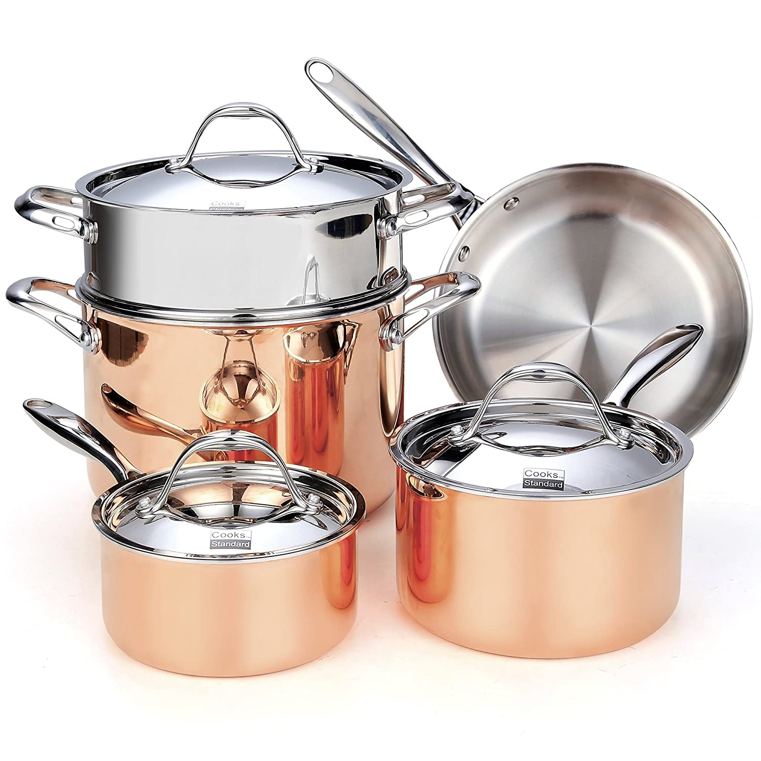 Cooks Standard NC-389 8-Piece Multi-Ply Clad Copper Cookware Set NC-00389