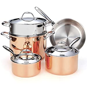 Cooks Standard NC-00389 Stainless Steel 8-Piece Multi-Ply Clad Copper Cookware Set