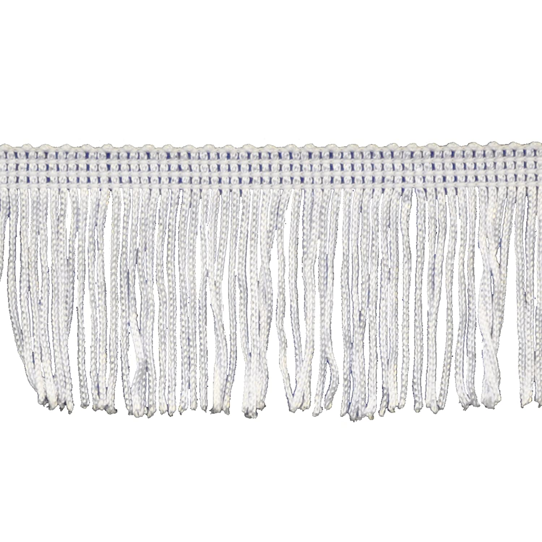 Brushed Fringe 2-Inch Long Chainette Polyester Fringe in 10 Yard Rolls P-7043 in Color 27 White Belagio Enterprises P-7043 - 27 WHITE