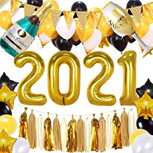 New Years Eve Party Supplies 2021,Graduation Party Supplies 2021 Decor with Beer Champagne Foil Balloon, Gold Black Silver Latex Balloon,2021 Foil Balloons, Banner, Tassel and Air Pump