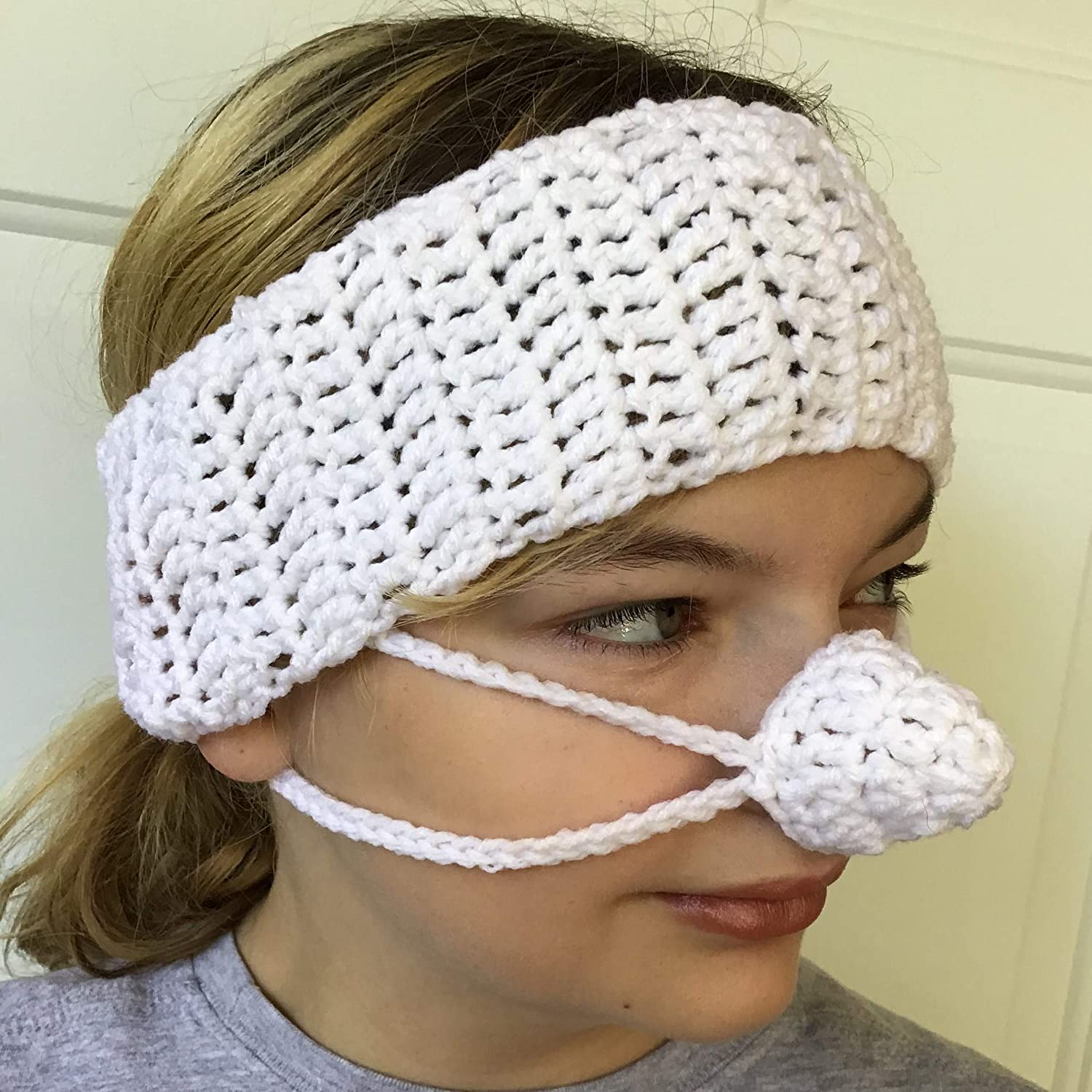 White Ear Warmer Nose Warmer Set by Aunt Marty