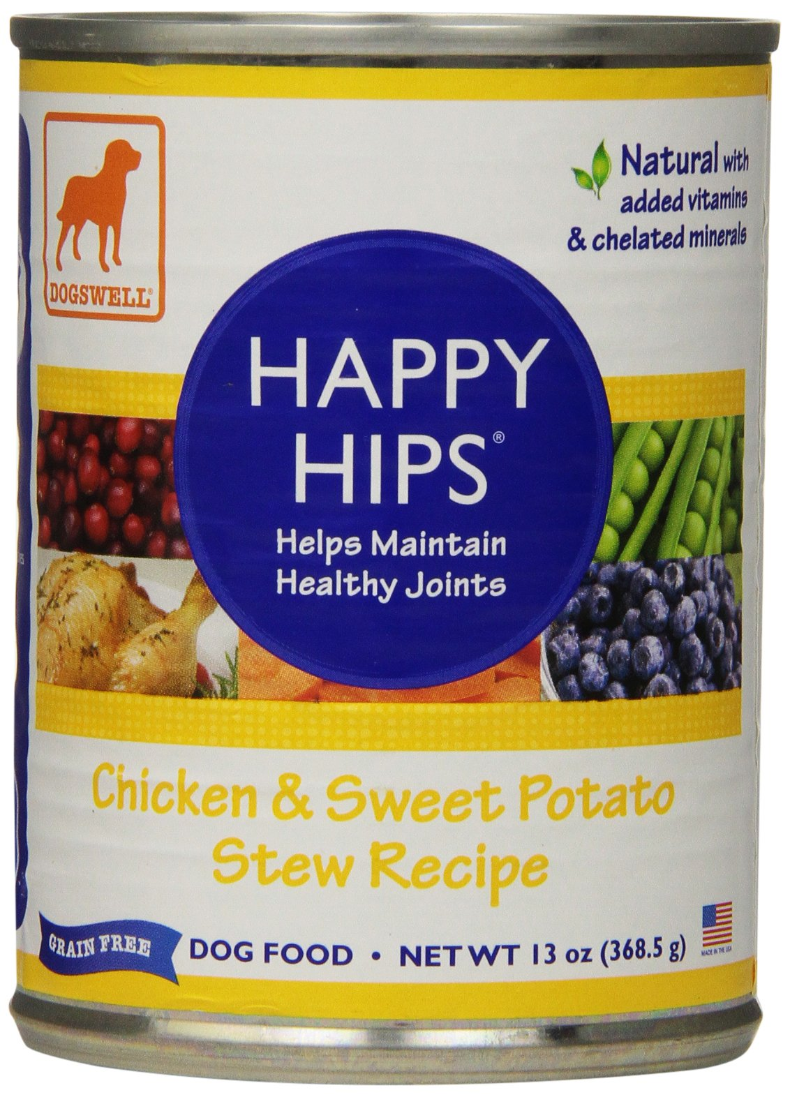 DOGSWELL Happy Hips Wet Dog Food with Glucosamine & Chondroitin, Adult Formula, Chicken Recipe, 12 cans by DOGSWELL
