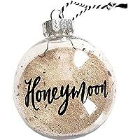 Hand Lettered Honeymoon Sand Christmas Ornament, Travel Gift for Bridal Shower - 2.5 inch Diameter, Plastic…