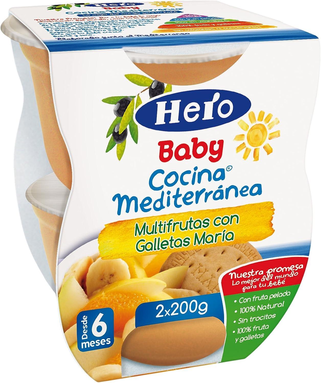 Hero Baby Cocina Mediterránea Potito Multifrutas con Galletas María para Bebés a partir de 6 meses Pack 2 x 200 g (400 g): Amazon.es: Alimentación y bebidas