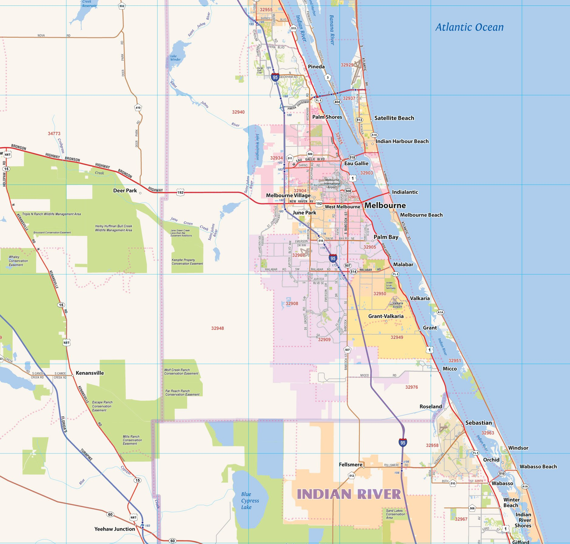Central Florida Laminated Wall map (60''Wx48''L) by Topographics (Image #5)