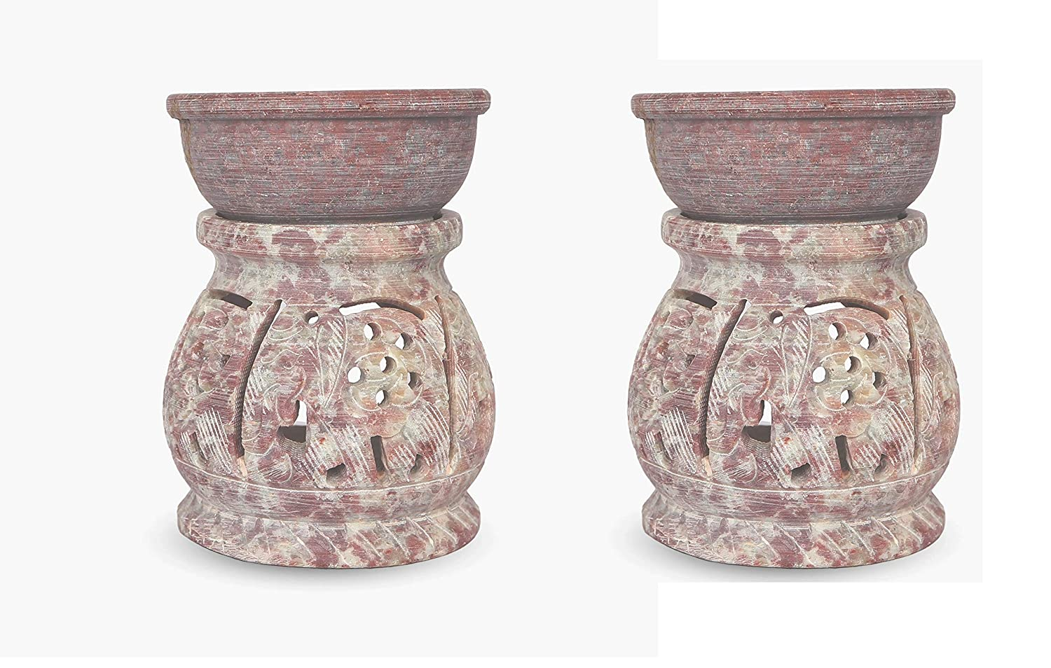 Carved stone tea light holder holds up to five candles