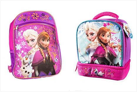 02365d65a6b Amazon.com  Disney Frozen Pink Backpack Princess Elsa   Anna 16 ...