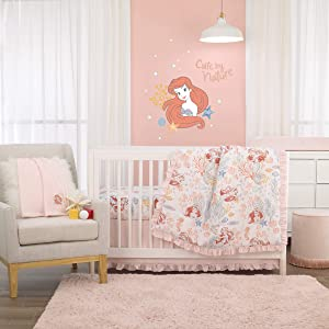 Disney The Little Mermaid Ariel Pink, Coral, Teal & White 6Piece Nursery Crib Bedding Set - Comforter, Two Fitted Crib Sheets, Dust Ruffle, Baby Blanket & Changing Pad Cover, Pink, Coral, Teal, White