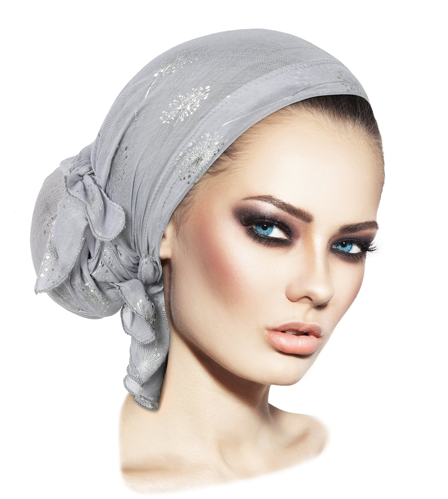 ShariRose Soft Lightweight pre-Tied Head-Scarf Tichel Weightless Collection! Over 50 Colors! (Gray Silver Dandelion Puff Long)