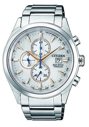 Citizen Reloj Cronógrafo para Hombre de Energía Solar con Correa en Titanio CA0650-82B: Amazon.es: Relojes