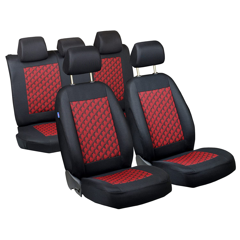 Fundas de asiento C4 –  1 set –  Producto Premium Negro De Color Rojo Efecto 3d Zakschneider