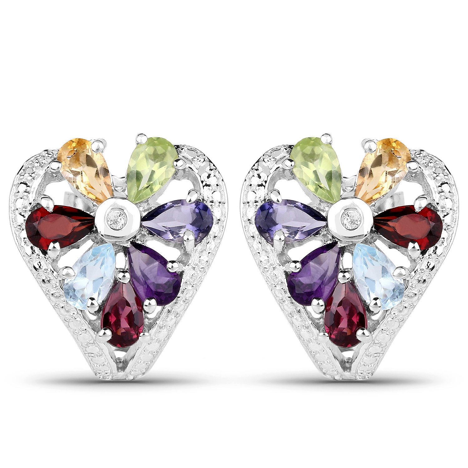 Johareez 3.13 Cts Multigemstone .925 Sterling Silver Rhodium Plated Earrings For Women