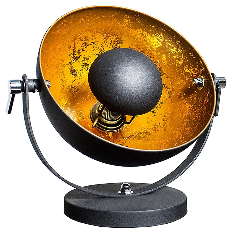 Moderne Tischlampe STUDIO 40 Cm Schwarz Gold E27 Lampe Mit Blattgold Tischleuchte Studiolampe Schwenkbar Wohnzimmerlampe Amazonde Beleuchtung