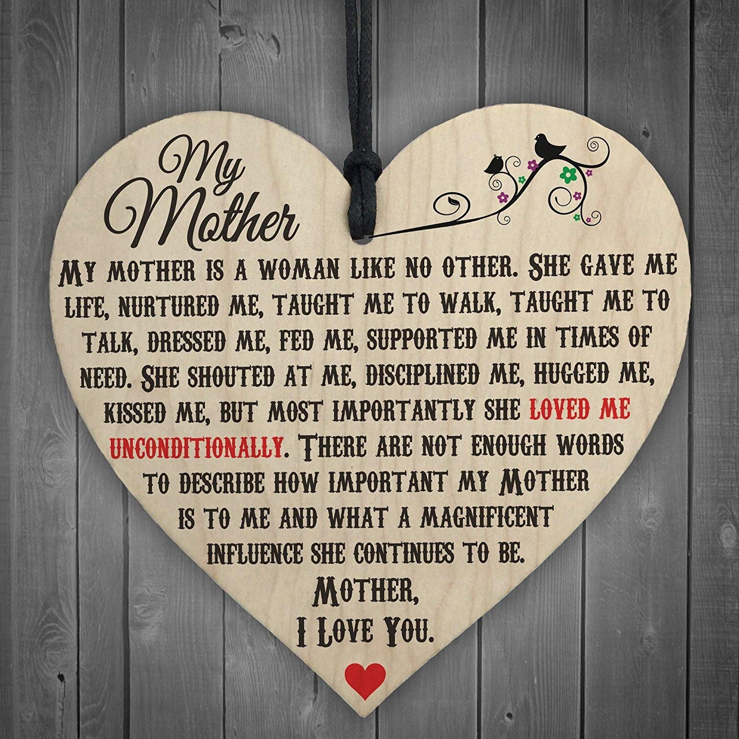 RED OCEAN My Mother Like No Other Wooden Hanging Heart Plaque Mum Love