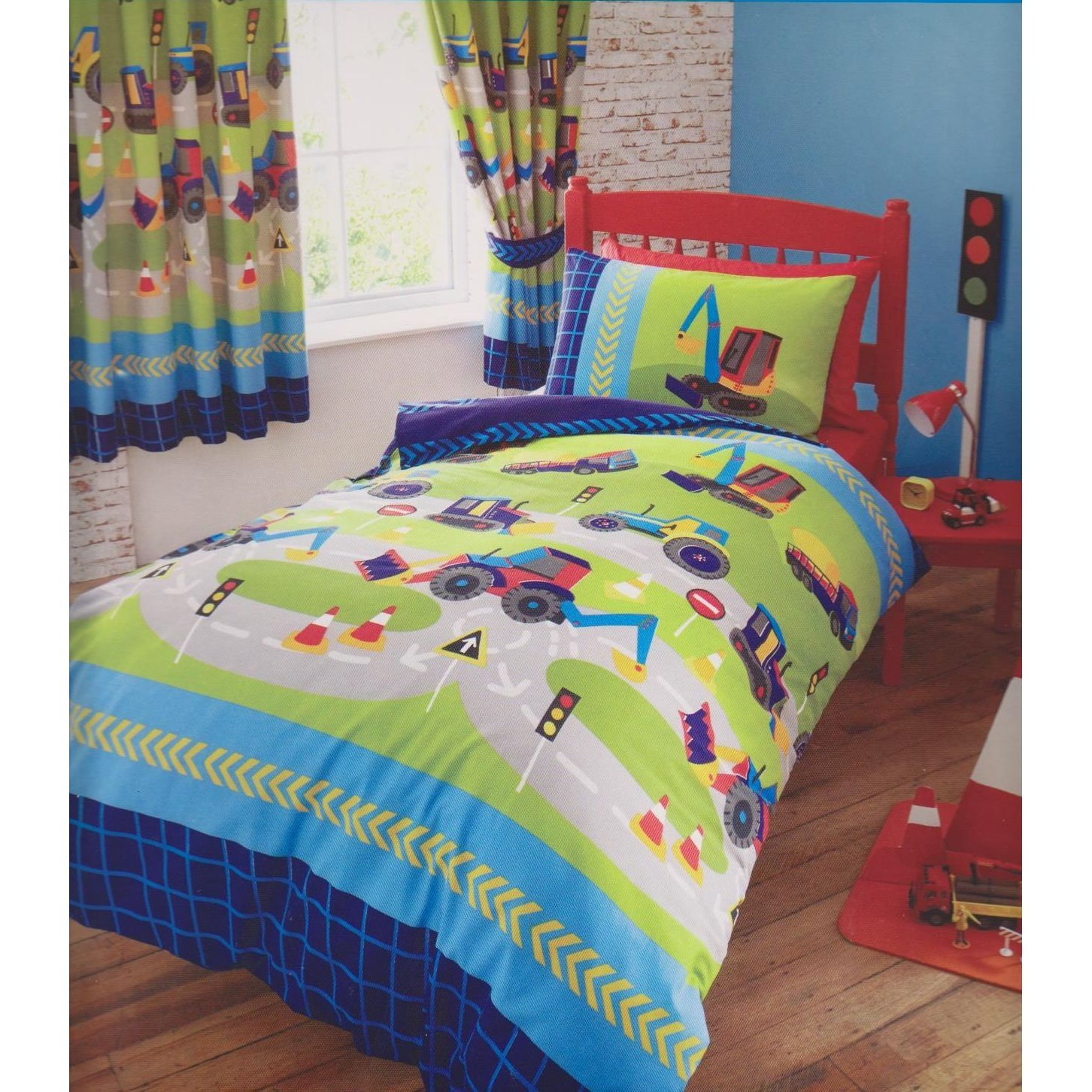 Kids Club Boys Diggers Trucks Duvet/Quilt Cover Set, Navy Blue/Green, Double Bedmaker 12395251