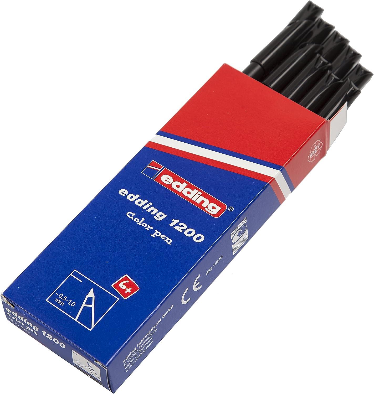 edding 1200-001 - Rotulador con punta de fibra, 10 unidades, color negro