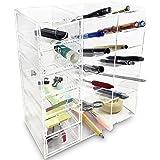 Ikee Design Acrylic 6-Shelf Office Desk Organizer/ Caddy Organizer Racks/ Desk Supplies Organizer Caddy/ Drawer Sorting Desk Storage – Caddies for Office or Teacher Supplies