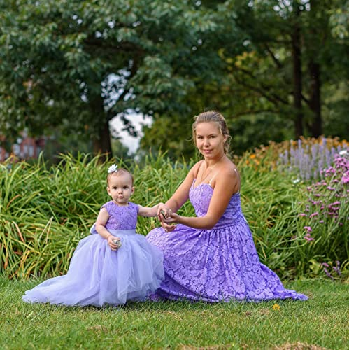 95a526f45 Amazon.com: Mother Daughter Matching dresses Outfits, Lavanda Lace Dresses  for Mommy and Me, Girls lace tutu dress open heart, Mommy and Me party dress:  ...