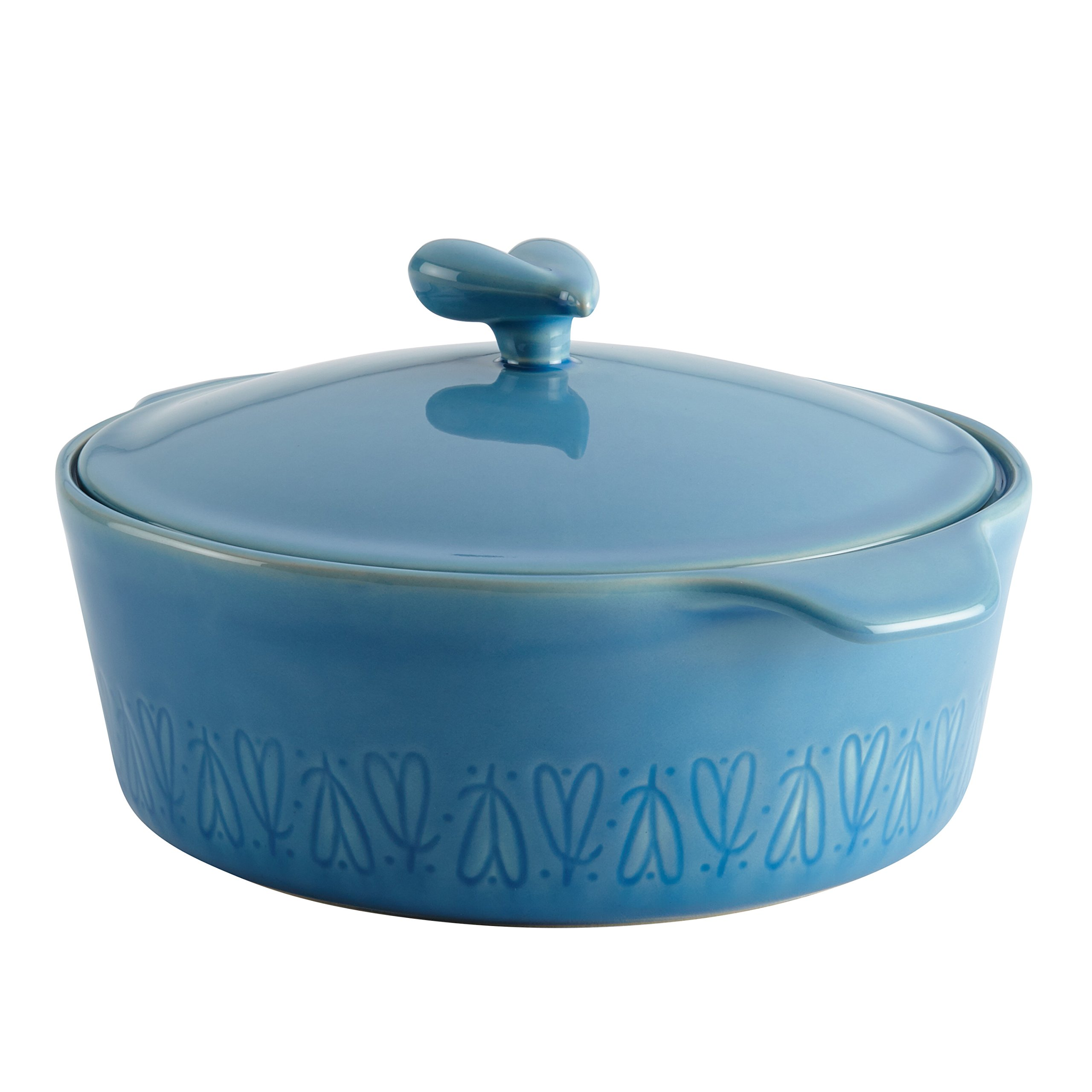 Ayesha Curry Home Collection Stoneware Round Casserole, 2.5-Quart, Blue