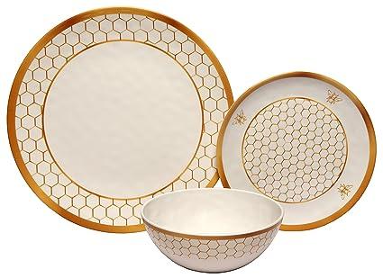 Melange 12-Piece 100% Melamine Dinnerware Set (Gold Honeycomb Collection )   Shatter  sc 1 st  Amazon.com & Amazon.com: Melange 12-Piece 100% Melamine Dinnerware Set (Gold ...