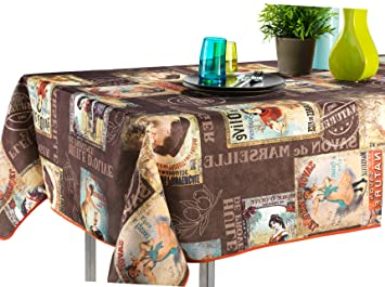 60 X 120 Inch Rectangular Tablecloth Brown Vintage Provence Cabaret, Stain  Resistant, Washable