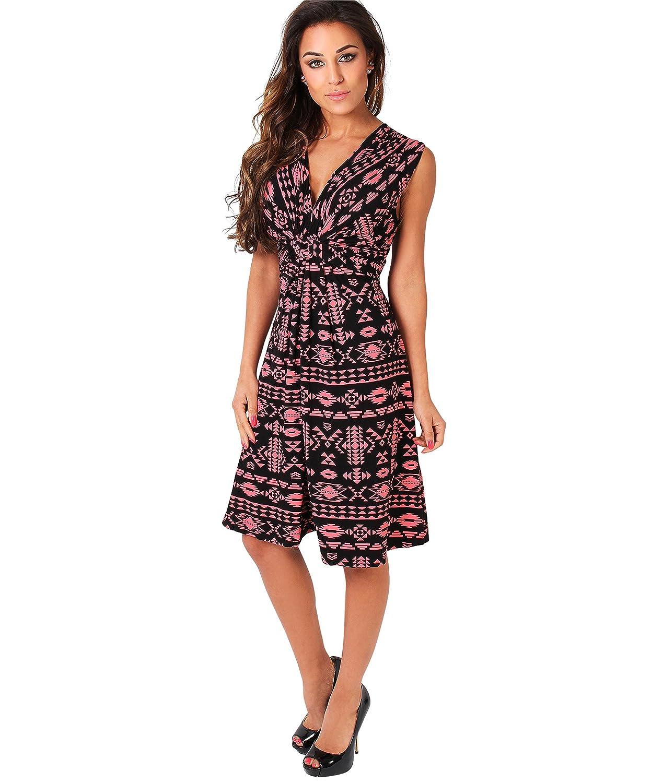 7a6d675465b KRISP Womens Knee Length Aztec Print V Neck Dress Self Tie: Amazon.ca:  Clothing & Accessories