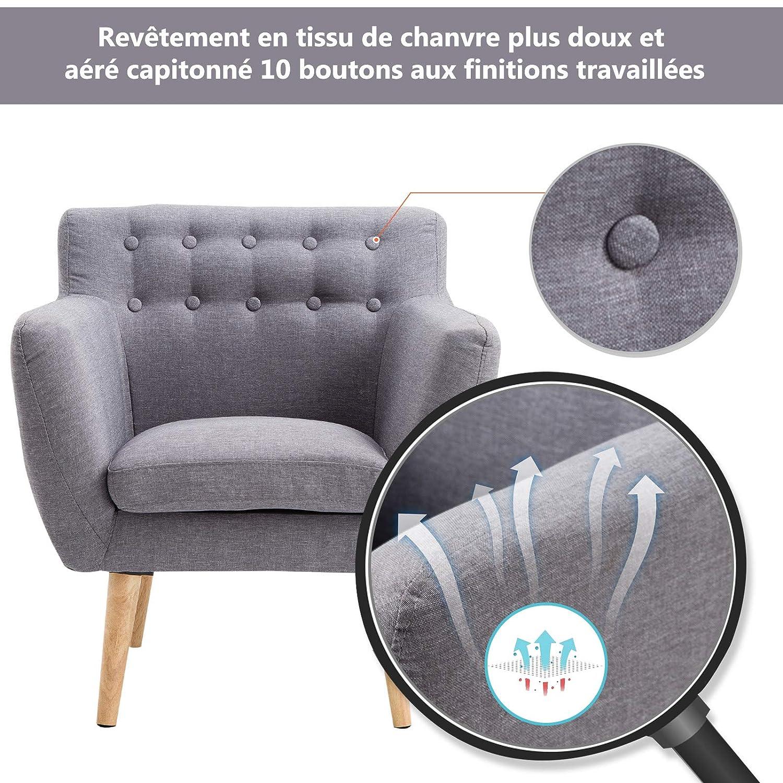 Homcom Fauteuil Design scandinave 68L x 59l x 75H cm Pieds effil/és Dossier capitonn/é avec Boutons Gris Clair chin/é