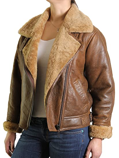 b2933c976 BRANDSLOCK Women Genuine Shearling Sheepskin Leather Flying Jacket ...