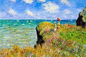 Claude Monet The Cliff Walk at Pourville Cool Wall Decor Art Print Poster 12x18