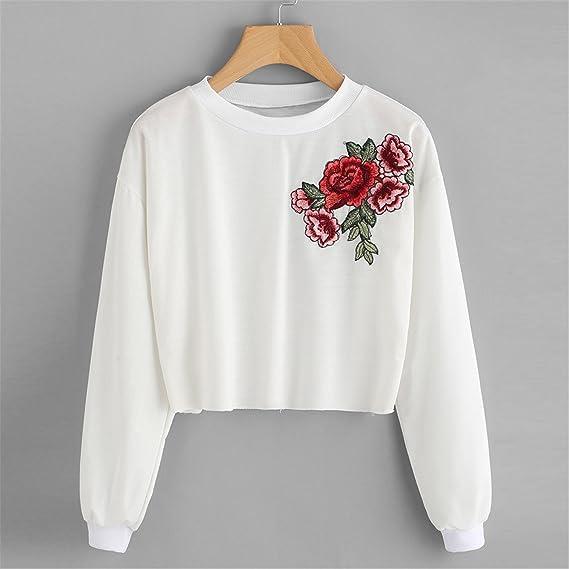 Retro rosas bordadas Impreso,Longra ❤ Mujeres Sudadera con capucha de la linterna Sudaderas con capucha de la cachemira Tops Blusa del remiendo: ...