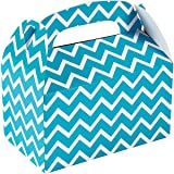 """Turquoise Chevron Treat Boxes (12 Pack) Paper. 6"""" X 3 3/4"""" X 6"""""""