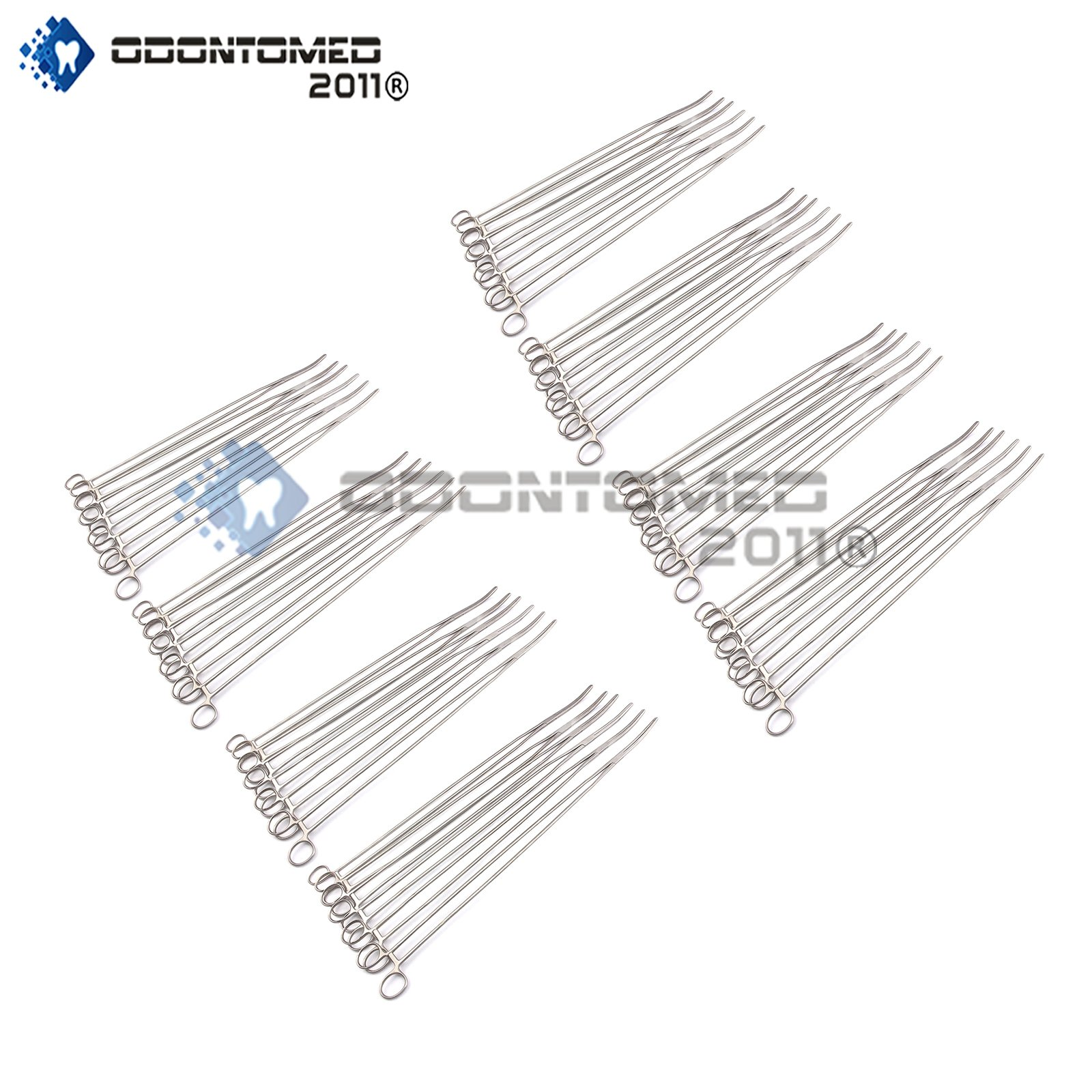 OdontoMed2011 Lot Of 50 Pieces Pean Hemostat Locking Curved 24'' Forceps Full Serrated Stainless Steel