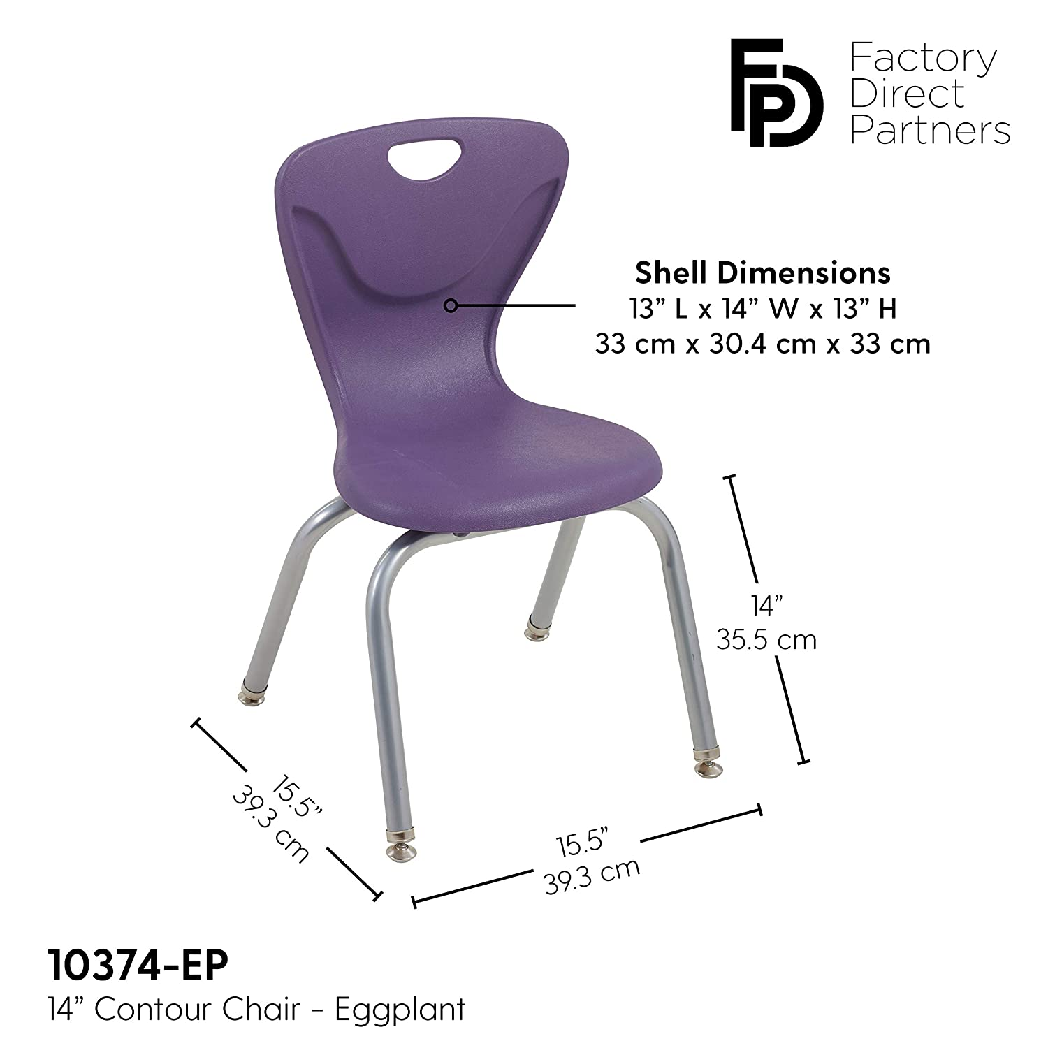 Blue Ergonomic Molded Seat Shell with Chromed Steel Frame and Swivel Leg Glides 16 Contour School Stacking Student Chair 4-Pack