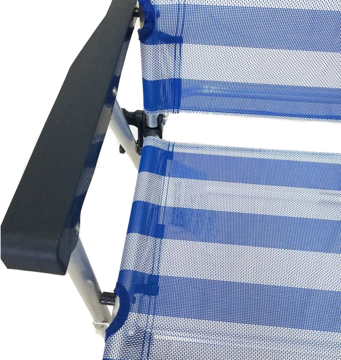 jard/ín o Exteriores Tumbona Plegable de Aluminio con reposabrazos para Playa S.L Silla Plegable Medidas 56x56 cm Asiento Patio Cisne 2013 Color Rayas Azules