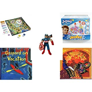 Children's Fun & Educational Gift Bundle - Ages 6-12 [5 Piece] - Includes: Game - Toy - Plush - Hardcover Book - Paperback Book - No. dbund-6-12-26162