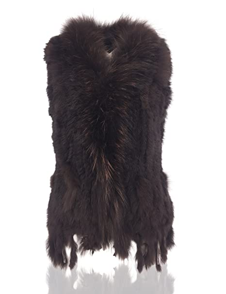 Uilor® Mujeres 100% Natural Chaleco de Piel de Conejo de Punto con Cuello  de pie  Amazon.es  Ropa y accesorios 57c15ebd973c