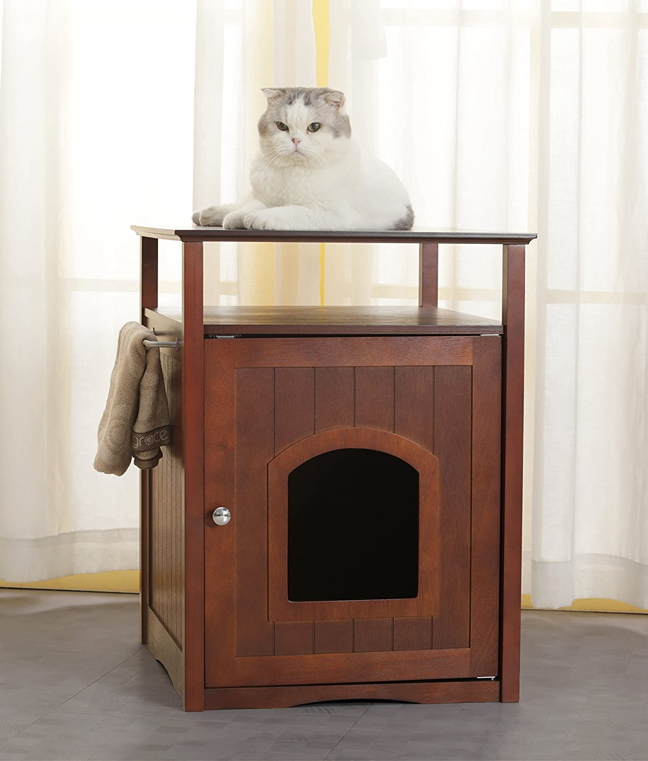 Trixie Pet Products Wooden Cat Home or Litter Box Concealer in Walnut