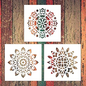Reusable Mandala Floor Stencil Set of 3 (12 x 12 inch) Painting Stencil, Laser Cut Painting Template Floor Wall Tile Fabric Wood Stencils DIY Decor (White-DD(3 Pack))