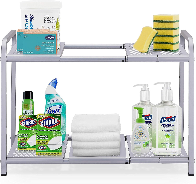 Simple Trending 2-Tier Under Sink Expandable Cabinet Shelf Organizer Rack for Kitchen Bathroom Storage, Silver