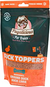 Pugalicious Pet Meal Toppers for Dogs and Cats (3.5oz/100g) (1 Bag), Freeze Dried, 100% Duck Meat and Liver, No Added Preservatives, All Natural, Dog and Cat Food Toppers
