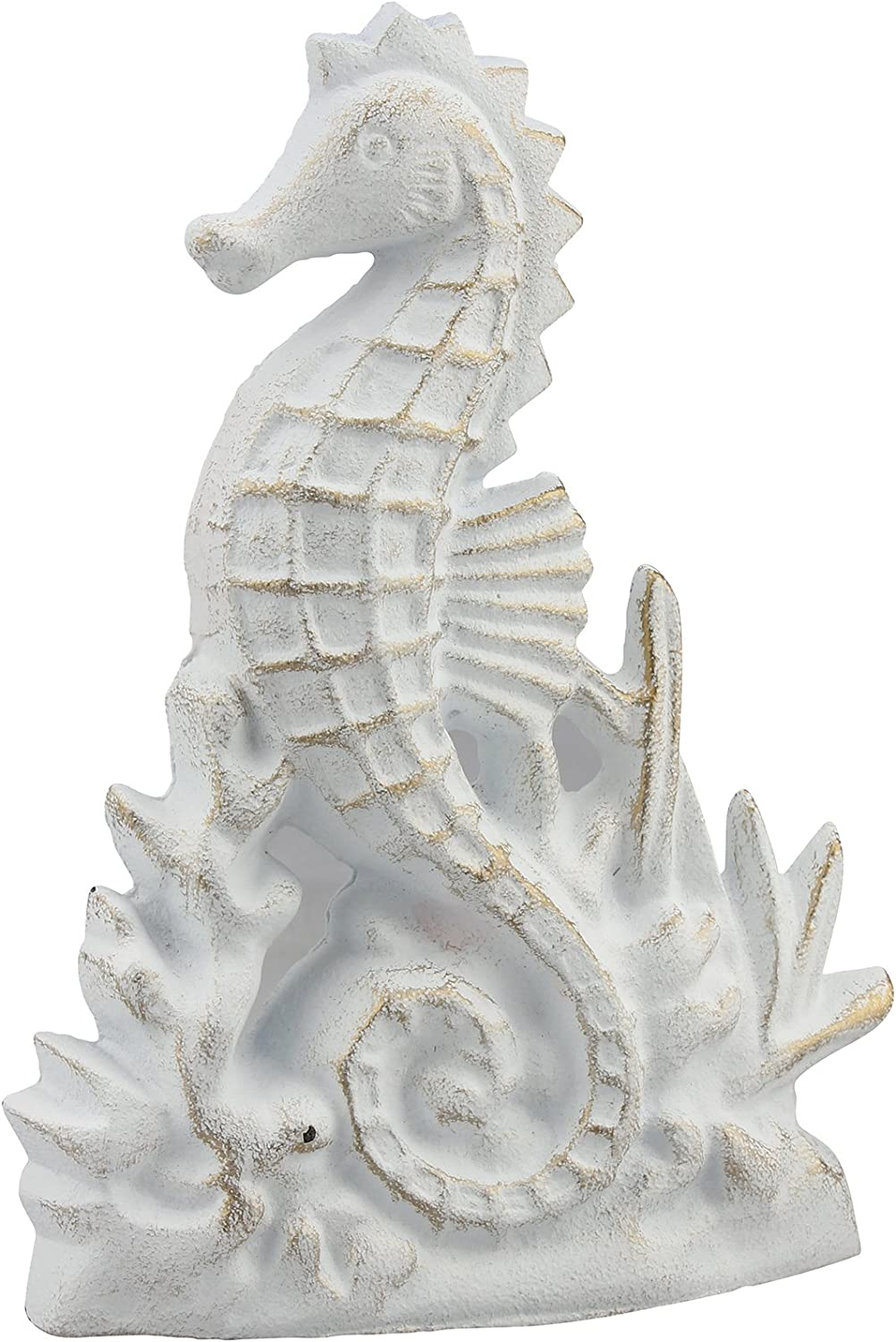 Stonebriar Beach House White and Gold Cast Iron Seahorse Door Stopper