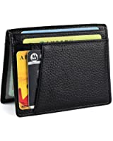 Slim Front Pocket Wallet - Bifold Mens Wallet with 8 Card Slots, Minimalist Travel Wallet Flip ID window slots for Driver License ID Cards, Business Wallet Genuine Leather (Retro Brown)
