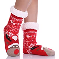 LANLEO Boys Girls Cute Animal Slipper Socks Fuzzy Soft Warm Thick Fleece lined Winter Socks Kids Toddlers Christmas…