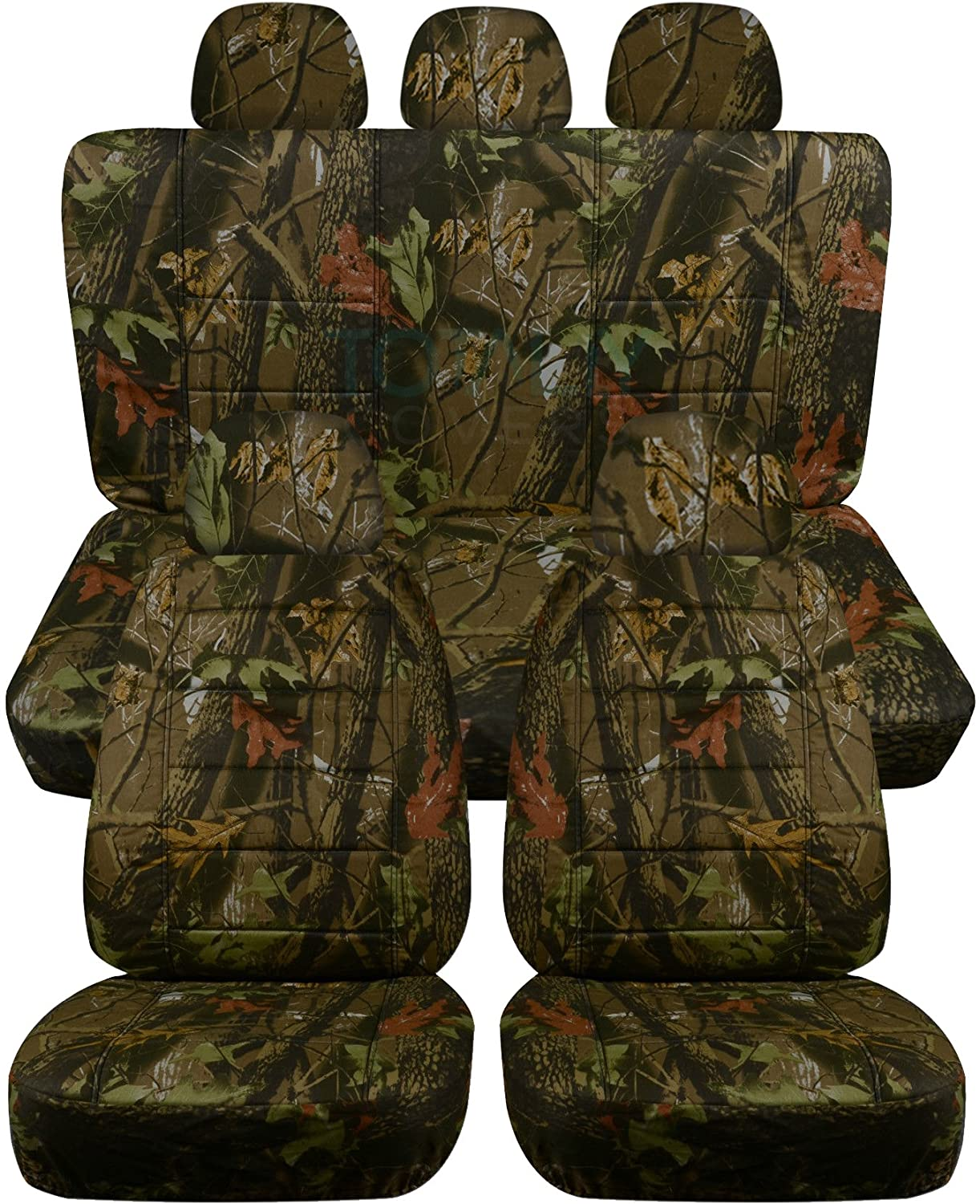 Semi-Custom Fit Camouflage Car Seat Covers w 5 Headrest Covers: Woods Camo 2 Front + 3 Rear 22 Prints Full Set Will Make Fit Any Car//Truck//Van//SUV
