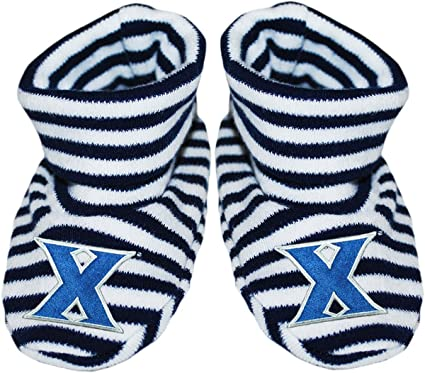 Xavier University Newborn Baby Striped Bootie Sock